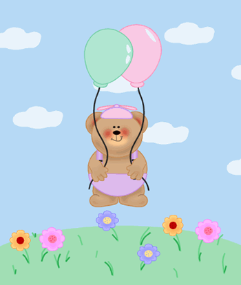 Baby Bear Floating Away With Balloons