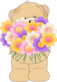 Bear Holding A Bunch Of Flowers
