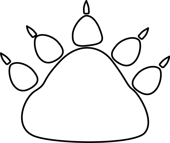 Black and White Bear Paw Print
