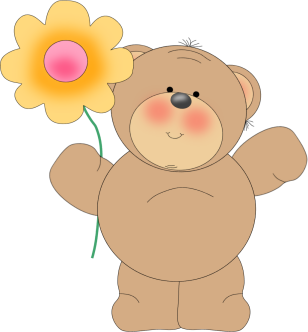 Bear Waving with Flower