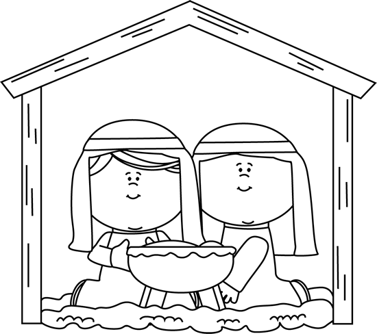 Black and White Mary and Joseph Nativity