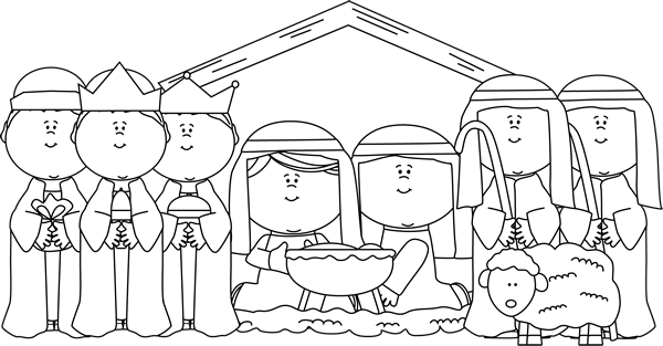 Black and White Nativity with Shepherds and Wise Men
