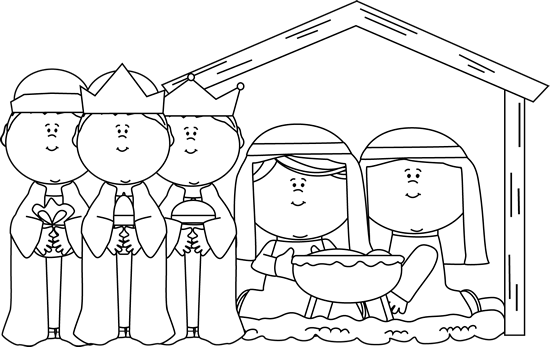 black and white black and white nativity scene with wise men - Christmas In Black And White